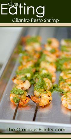 Clean Eating Cilantro Pesto Shrimp. Best shrimp EVER!!!