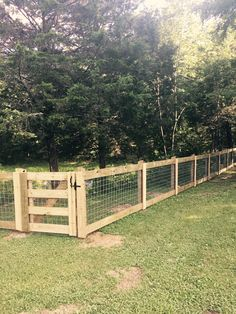 dog fence Farm fencing of Nashville Farm Fence, Diy Fence, Backyard Fences, Backyard Landscaping, Pasture Fencing, Fenced In Backyard Ideas, Cattle Panel Fence, Yard Fencing, Horse Fencing