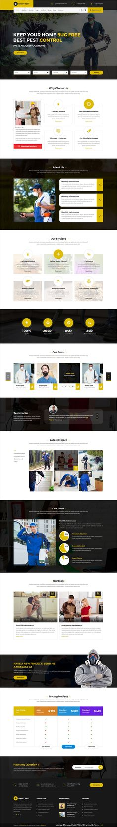 Smart pest is clean and modren design #PSD template for #pest control services #website with 10 layered PSD files to download & live preview click on image or Visit  #webdesign