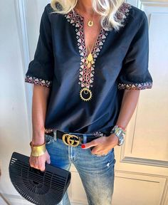 Digital Printing V-Neck Sexy Blouses Casual Women Tops Three Quarter Sleeve Summer Blouse Female Plus Size Shirts Plus Size Shirts, Plus Size Blouses, Boho Tops, Ethnic Fashion, Look Fashion, Fashion Women, Fashion Clothes, Fashion Dresses, Half Sleeves