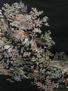 Hand embroidered silk kimono fabric