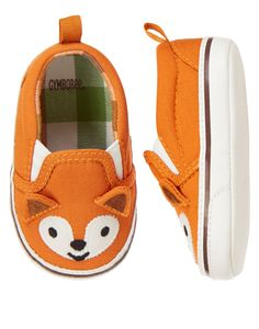 Sweet style for his feet. Our fox crib sneaker shoe features a comfy slip-on design with 3-D ears.
