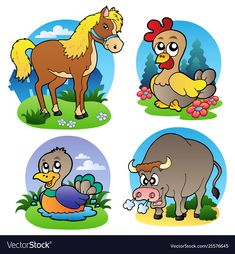Illustration of Various farm animals 2 - illustration. vector art, clipart and stock vectors. Farm Vector, Vector Art, Chicken Vector, Animal 2, Animal Crafts, Art Pages, Cartoon Images, Farm Animals, Coloring Books