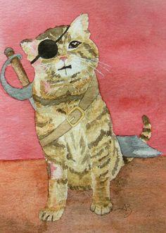 Carte postale - chat - Gédéon le pirate