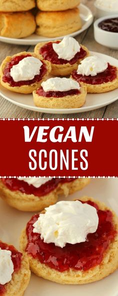 Light and crumbly vegan scones served with strawberry jam and freshly whipped coconut cream. Absolutely delicious for afternoon tea or dessert. | lovingitvegan.com