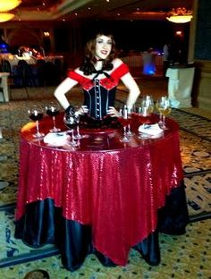 Red and black living table from J&D Entertainment Houston, Texas, Strolling Table, Living Decor, Country and Western, Corporate Houston Entertainment Company www.jdentertain.com