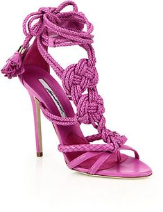 Brian Atwood Yuna Knotted Braided Leather Ankle-Tie Sandals
