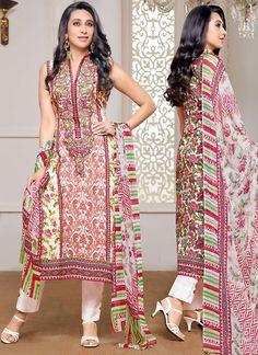 Glitzy Karisma Kapoor Off White Cotton Satin Churidar Suit