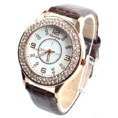 Fashion women diamond dial quartz wrist watch digital ( brown )