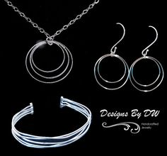 Jewelry Set for Wife - Thin Silver Wire Necklace Set - Christmas Gift Jewelry Set - Silver Jewelry Gift Set - Simple Silver Jewelry Set