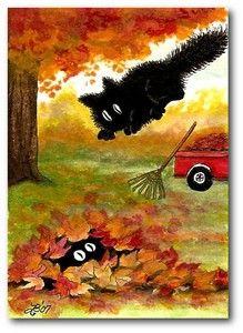 peek n boo ( their names ) raking leaves black cat fuzzy art I Love Cats, Crazy Cats, Cool Cats, Silly Cats, Illustrations, Illustration Art, Black Cat Art, Black Cats, Black Kitty