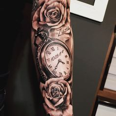 #armtattoo #watchtattoo #rosestattoo #mantattoo