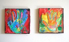 HAND PRINT CANVASES - DISPLAY GRID-STYLE FOR A CLASS. GREAT SILENT AUCTION IDEA.