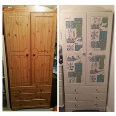 Pine Wardrobe Upcycled Using Annie Sloan Chalk Paint In Old White Shabby Chic Door S