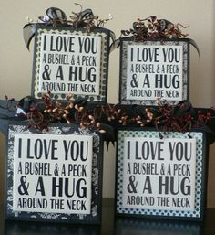 I Love You a Bushel and a Peck and a Hug around the Neck vinyl saying on wood block Christmas Signs, Christmas Decorations, Holiday Decor, Holiday Ideas, Christmas Crafts, Glass Blocks, Wood Blocks, Ceramic Tile Art, Tile Wood