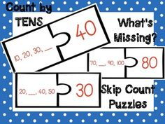 FREEBIE! for a limited time!   Print, Laminate, Cut, and Enjoy :) Fill in the blank by counting by 10's to match the correct puzzle piece. Perfect for small group math literacy center. BONUS WORKSHEET INCLUDED!