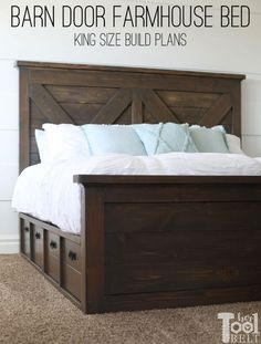 King X Barn Door Farmhouse Bed Plans - Her Tool Belt - Build a barn door farmhouse bed with X headboard. Free king size bed building plans on hertoolbelt. Diy King Bed Frame, King Size Bed Frame, King Size Bed Headboard, Modern King Bed Frame, King Size Beds, Diy Bed Frame Plans, Wooden King Size Bed, Build A Headboard, King Storage Bed