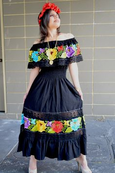 Multicolor Embroidered Off Shoulders Mexican Dress by Vtgantiques