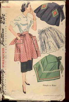 Vintage Apron Patterns | Simplicity 3718 Vintage 1950s apron pattern by bellaloona on Etsy