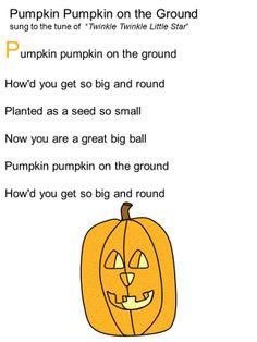 Pumpkin Pumpkin ( to Twinkle Twinkle ) halloween fingerplays Preschool Music, Fall Preschool, Preschool Activities, Preschool Curriculum, Preschool Lessons, Homeschooling, Theme Halloween, Halloween Activities, Halloween Songs For Preschoolers