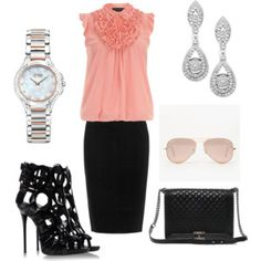 Why not ? Be chic, cute and sexy !! office outfit. black and pink.