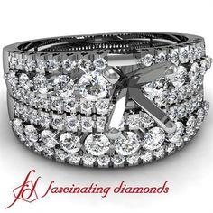 3 Row Petite Diamond Engagement Wedding Rings Pave Set