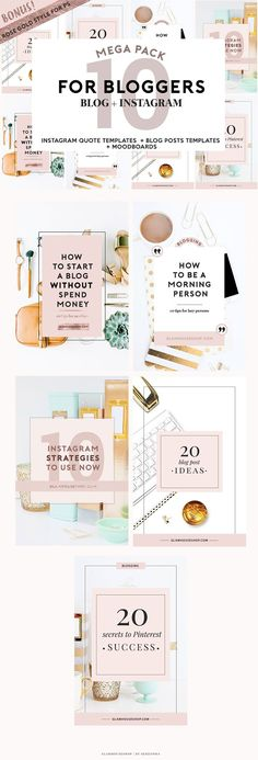 4 BLOGGERS + SOCIAL MEDIA ROSE GOLD by Glam House Shop on @creativemarket
