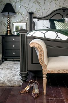 #Chiefswood - Bedroom, Wallpaper by Joanne Fabrics, vintage lamp and bench Second Wind Interior Design