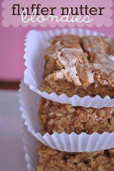 These Fluffer Nutter Blondies are amazing!! Every time I make these, we're scraping the dish for scraps after they're gone! #blondie #recipe