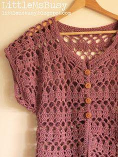 Crochet Summer Cardigan in Panda Magnum by LittleMsBusy  #crochet #littlemsbusy #cardigan #summer