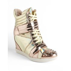 Boutique 9 Nevan Metallic Leather Wedge Sneakers ($220) ❤ liked on Polyvore