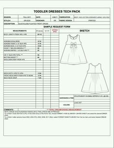 Spec Sheet Template  ClothingFashion Line Sheets  Technical