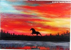 WILD HORSE – Acrylic Painting on Canvas for Beginners How to paint a wild horse silhouette. This is an easy and simple painting that anyone can paint!