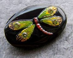 Vintage Czech oval glass button, dragonfly with rhinestones on black background from https://www.etsy.com/listing/173179300/vintage-button-czech-glass-button?ref=favs_view_1