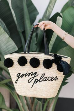 This straw tote with pom poms is so cute and makes the perfect beach bag! Beach Accessories, Fashion Accessories, Beach Essentials, Travel Outfit Summer, Summer Travel, Straw Tote, Summer Bags, Summer Time, Beachwear For Women