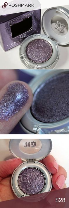 """Brand new Urban Decay eyeshadow in"""" intergalactic' Brand new Urban Decay Intergalactic eyeshadow. This is a gorgeous purple metallic color. The new Urban Decay eyeshadows are so runnable and creamy it's one of my favorite single eyeshadow Brands out there. If you have any questions feel free to ask offers are welcome thank you for stopping by my closet I hope we can do business together :-) Urban Decay Makeup Eyeshadow"""