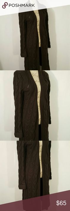 Talbots Long Cardigan Brown M This is a brown long cardigan. Talbot's brand.  🐨 nonsmoking home Talbots Sweaters Cardigans
