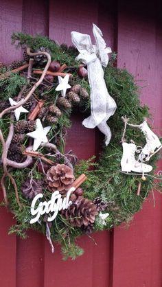 Dørkrans - jul - natur - hvit