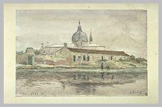 ROUART Henri : Vue d'une église sur une île de la lagune vénitienne