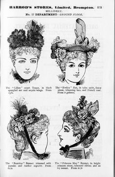1893 in Harrods - a Ladies fashion department opens for the first time.Images from Harrods' first catalogue.