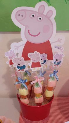 Why my children love Peppa, I do not understand, but they do. Peppa Pig Birthday Party candy treats. See more party planning ideas at CatchMyParty.com.: