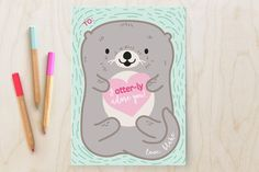 Otterly Adorable Classroom Valentine's Cards by Itsy Belle Studio at minted.com