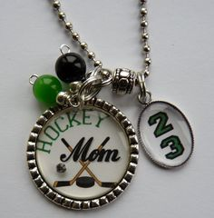 Hockey Mom necklace with number mom - blue