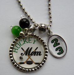 Hockey Mom necklace with number mom grandma nana by TrendyTz