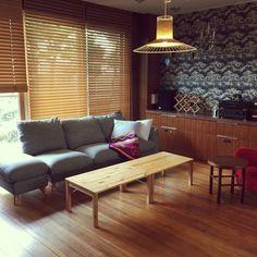 NORiさんの、IDEE 照明,杉,アクタス,木製ブラインド,無印良品,折りたたみ式テーブル,南洋松,机,のお部屋写真