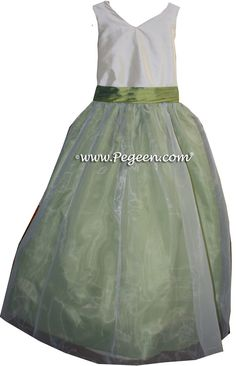 5ea7b35b26d Custom flower girl dresses Style 301 in Blue-Green and Ivory