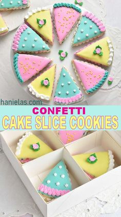 Confetti Cake Cookies, Flower Cookies, Cupcake Cookies, Sugar Cookies, Galletas Cookies, Cute Cookies, Yummy Cookies, Cake Decorating Tips, Cookie Decorating