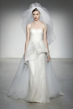 Crysler Amsale Fall 2013 Bridal Silk organza column gown with embroidered tulle overlay