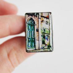 Lisbon ring watercolor city jewelry green door by Nechegonadet