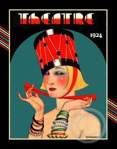 Whimsical Art Deco Theatre Cover Girl in by DragonflyMeadowsArt, $18.00